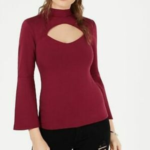 Womens Guess maroon cut out bell sleeve top size m